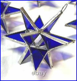 Lot of 25! Stained Glass Moravian COBALT BLUE STARS Ornament! FIESTA COLOR