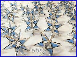 Lot of 25! Stained Glass Moravian STARS Iridescent TURQUOISE! Handmade