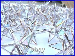 Lot of 50! Stained Glass Moravian STARS Iridescent CLEAR Christmas Ornament