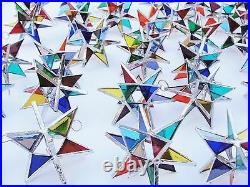 Lot of 50! Stained Glass Moravian STARS Iridescent MULTI COLOR! FIESTA COLOR