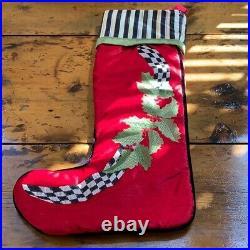 MACKENZIE-CHILDS Gold Courtly Stripe Red Metal Christmas Stocking Holder 2 avl