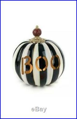 MacKenzie-Childs BOO LED Illuminated Pumpkin Courtly Stripe Halloween NEW