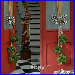 Mackenzie Childs BOXWOOD TRIO Hanger with Courtly Check Ribbon NEW $250 m20-no