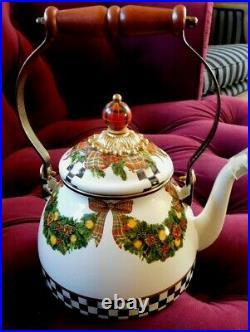 Mackenzie-child's Evergreen Holiday, Tea Kettle, 2 Qt. New, Retired Original Box