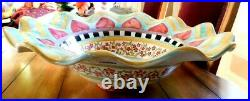 Mackenzie-child's Taylor, Hitchcock Field, Fluted Edge Large Serving Bowl, New