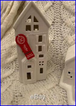 Martha Stewart White Ceramic LED Lighted Christmas Town Village Church House