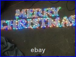 Merry Xmas Sign Lights Up Flashing 59 Inch Long Plug In