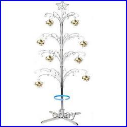 Metal Ornament Tree Display Stand Christmas Rotating Silver Color 74H