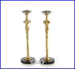 Michael Aram 24k Gold Plated Adam & Eve Candle Holders (Set of 2) New in Box