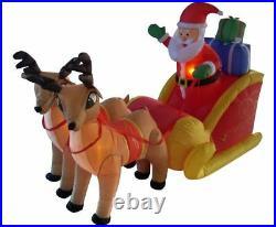 NEW 6ft Long Santa Claus Sleigh w Reindeer Christmas Lighted Yard Decor Outdoor