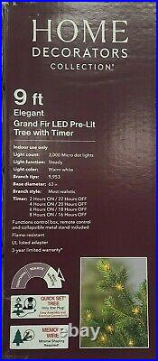 NEW! 9 ft Elegant Grand Fir LED Pre-Lit Artificial Christmas Tree with Timer