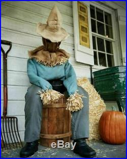 NEW! Animated Halloween 4.5 FT Lifesize Scary Sitting Surprise Scarecrow Prop