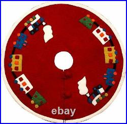 NEW Arcadia Home Red Train Applique Christmas Tree Skirt Wool 60