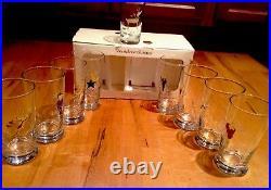 NEW FULL Set of 9 Pottery Barn REINDEER Glasses ALL 8+ RUDOLPH Glass Complete
