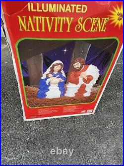 NEW In Box 28 Lighted Outdoor Nativity Scene 2 Piece Blow Mold Christmas Decor