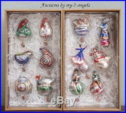 NEW Pottery Barn Twelve Days of Christmas Mercury Glass Ornaments SET OF 12