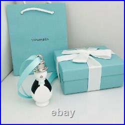 NEW Tiffany & Co Penguin Ornament Silver Blue Bone China Christmas Tree Holiday