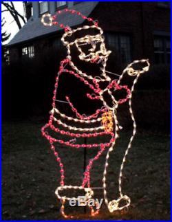 NEW Xmas Santa with List Outdoor Holiday LED Lighted Decoration Steel Wireframe