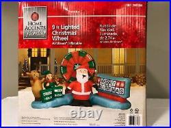 NIB 9.0 foot Inflatable Animated Christmas Lottery Wheel Santa Reindeer & Elf