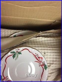 NIB Baum Bros 43 pc Victorian Holiday Christmas Set of Dishes by Thun Gold Trim