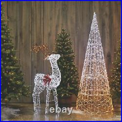 NOMA Pre Lit Micro Brite Deer Holiday Christmas Lawn Decoration, White(Open Box)