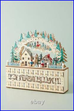 NWT Anthropologie Wooden Light Up Village Advent Calendar Scandinavian Nordic
