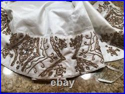 NWT beaded and jeweled holiday tree skirt 52 inches