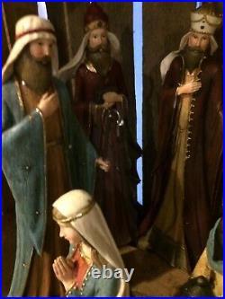 Nativity Christmas Figures Crib Beautiful Set Mary Joseph Etc
