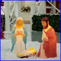Nativity Scene 3 pc Set Holy Family Large Christmas Lighted Outdoor Display NEW
