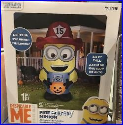 NewHalloween 8.5FT FIREFIGHTER Minion Gemmy Airblown INFLATABLE BLOW UP