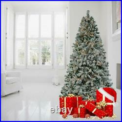 New 1450Tips 7.5FT Artificial Christmas Tree Snow Flocked Xmas Tree with Light US