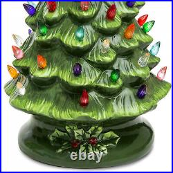New 15in Pre-Lit Hand-Painted Ceramic Tabletop Christmas Tree with 64 Lights