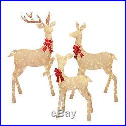 New 3 Piece Lighted Reindeer Family Deer Buck Doe Outdoor Christmas Yard Decor