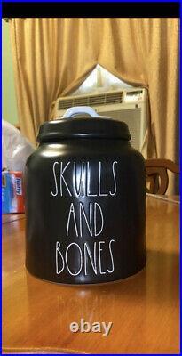 New Rae Dunn Skulls & Bones Black Halloween 2021 Canister
