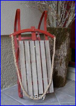 New! Vintaged Metal & Wood RED SLED Sleigh Outdoor Christmas Display Decor
