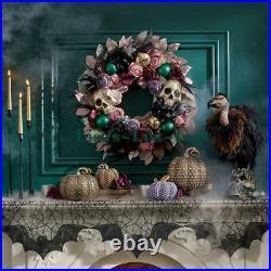 Nib Grandin Road Goth Glam Bejeweld Skulls & Florals 28 Wreath Gorgeous! New