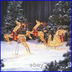 Noma Light Up Golden Reindeer and Sleigh Holiday Decoration Set (Open Box)
