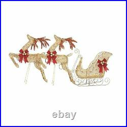 Noma Pre-Lit LED Golden Reindeer and Sleigh Holiday Lawn Decoration Set (Used)