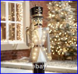 Norbert the Nutcracker 3ft Grey Colour Christmas Decorations Lights Up New