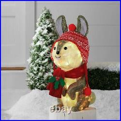 Nordic Rabbit Yard Sculpture withLights Sisal Xmas Holiday Decor Indoor/Outdoor