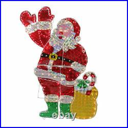 Northlight 48 Holographic Lighted Waving Santa Claus Christmas Yard Art Decor