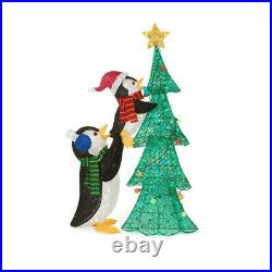 OUTDOOR CHRISTMAS TREE PENGUIN Christmas Yard Decoration Warm White LED Lights