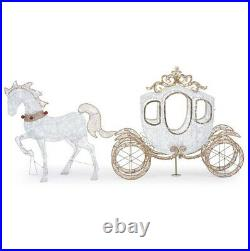OUTDOOR HORSE CARRIAGE Christmas Yard Decoration Cool White LED Lights