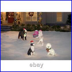 OUTDOOR POODLE DOG GIFT BOX Christmas Yard Decoration Cool White LED Lights