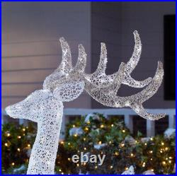 OUTDOOR REINDEER 3-Piece with LED Lights Christmas Yard Decoration White Red Bow