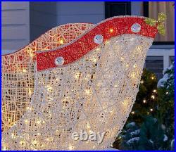 OUTDOOR SANTA SLEIGH Christmas Yard Decoration Warm White LED Lights