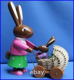 Osterhase Hase mit Kutsche & Hasenbaby 24cm Groß Handarbeit aus dem Erzgebirge