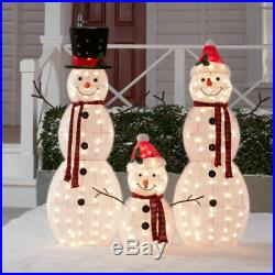 Outdoor Christmas Light-up 3-Piece Snowman Family Decoration Set Yard Holiday