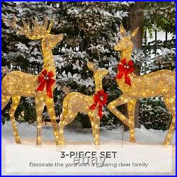 Outdoor Christmas Yard Decoration Reindeer Family Set Pre-Lit 360 LED Lights