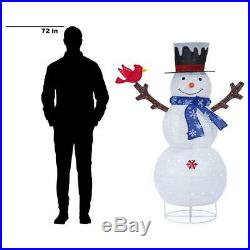 Outdoor Holiday Decorations 60 in. Christmas Cool White LED Collapsible Snowman